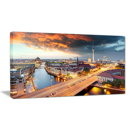 Berlin Design (Design Art Berlin at Dawn with Dramatic Sky Cityscape Photographic Print on Wrapped)