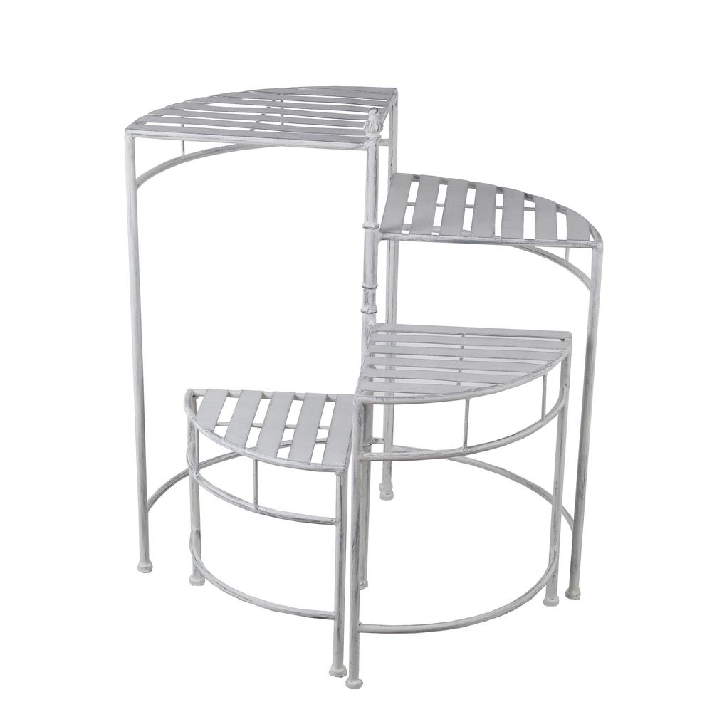 Privilege 4 Tier Adjustable White Metal Plant Stand Walmart Com Walmart Com