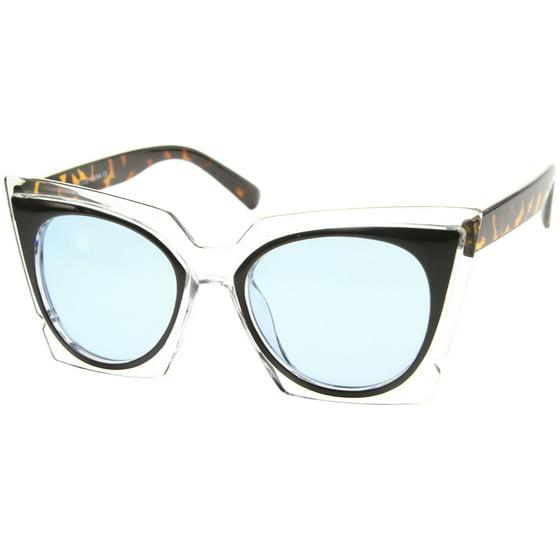 519017bafa sunglassLA - sunglassLA - Women s Fashion Two-Tone Crystal Clear ...