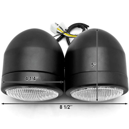 Black Twin Headlight Motorcycle Double Dual Lamp Compatible with Victory Cross Country - image 6 de 6