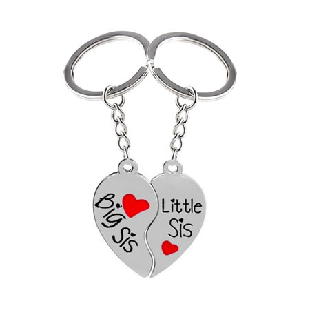 KABOER 2Pcs\/Set Red Heart Pendant Big Sis Little Sis Keychain Key Ring Keychain Gift For Sister Best