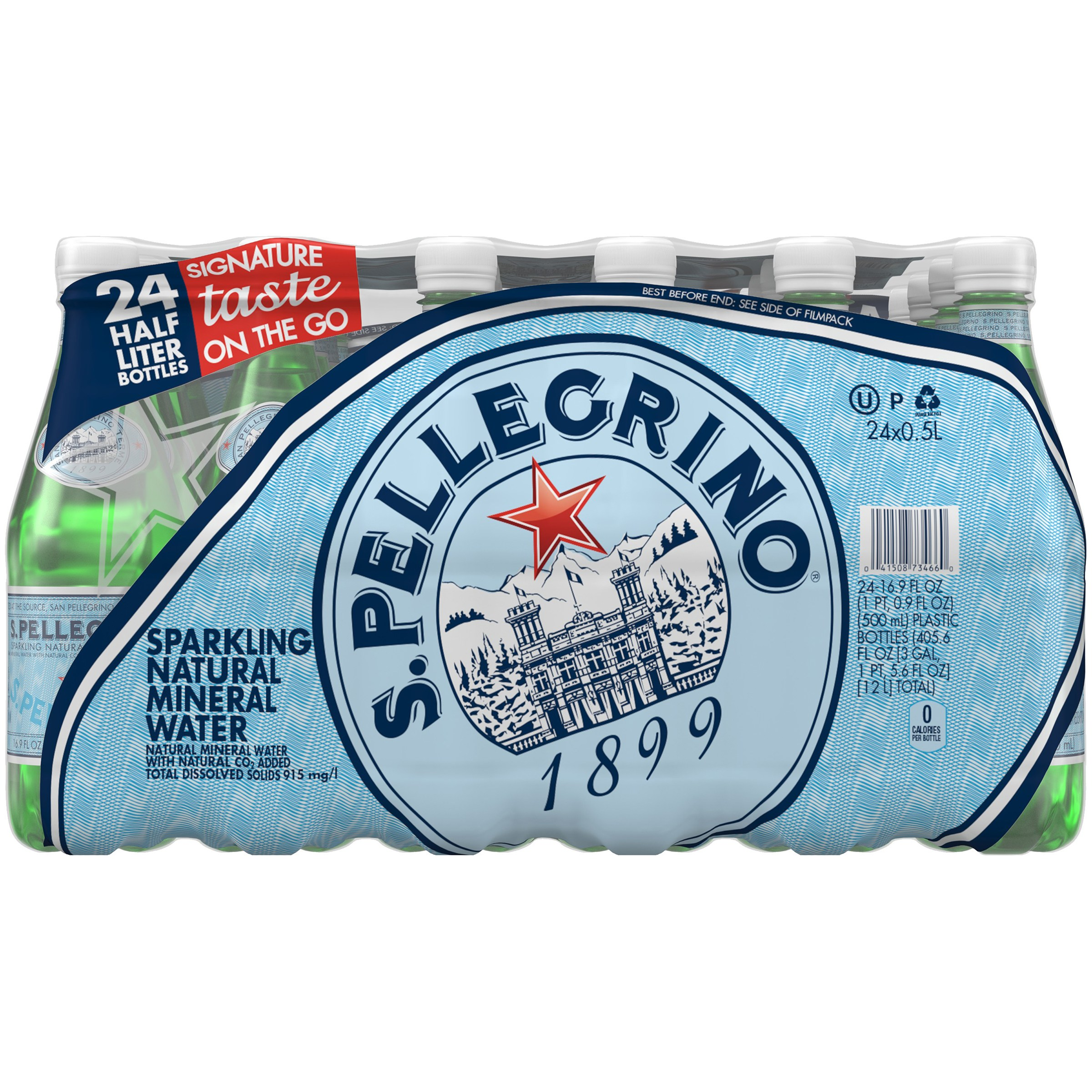 San Pellegrino Sparkling Natural Mineral Water, 16.9-ounce plastic bottles, pack of 24