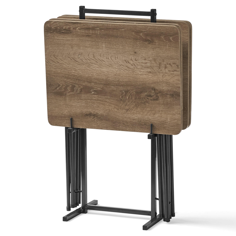 Mainstays 5 Piece Folding Tray Table Set With Stand Black Walmart Com Walmart Com