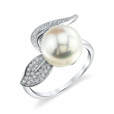 10 Mm Pearl Ring - 10mm White Freshwater Cultured Pearl & Crystal Leaf Ring