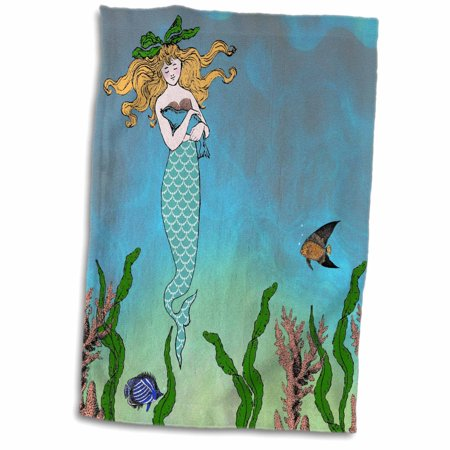3dRose Cute pretty mermaid hugging baby seal - underwater mythical vintage art at sea - ocean marine theme - Towel, 15 by (Under The Sea Art Projects For Toddlers)