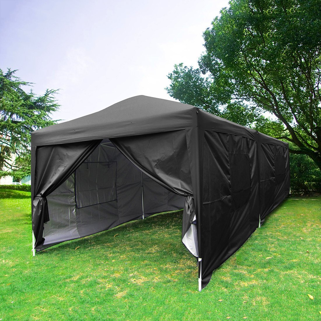 2018 Upgraded Quictent 10x20 EZ Pop Up Canopy Tent Gazebo Party Tent with 6 Sidewalls, Mesh Windows and Wheeled Bag 100%... by ML
