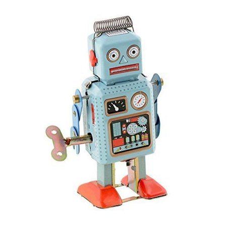 Retro Tops (Soledi Funny Dark & Green Clockwork Spring Wind Up Metal Walking Robot Retro Vintage Mechanical Kids Children Toy)