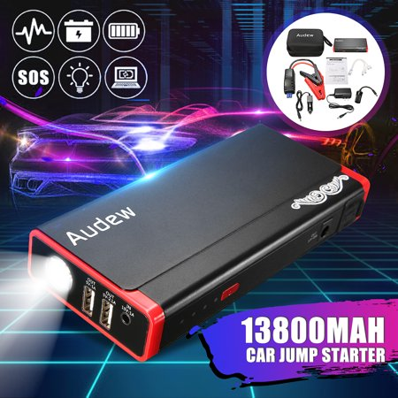 AUDEW 13800mAh Car Jump Starter Battery Jump Starter Battery Booster 500A, Battery Jumper Portable with LED Light For Heavy Duty Trucks, SUV, Compact Cars And