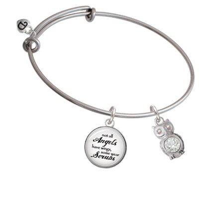 Angel Bracelet (3-D Clear AB Crystal Owl Angels Wear Scrubs Bangle)