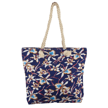 Lux Accessories Lux Accessories Womens Zip Up Beach Bag Blue Floral ()