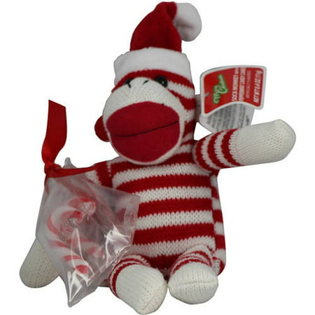 a11752d07 Galerie Red Striped Sock Monkey with Santa Hat and Candy Canes, 0.4 Oz.