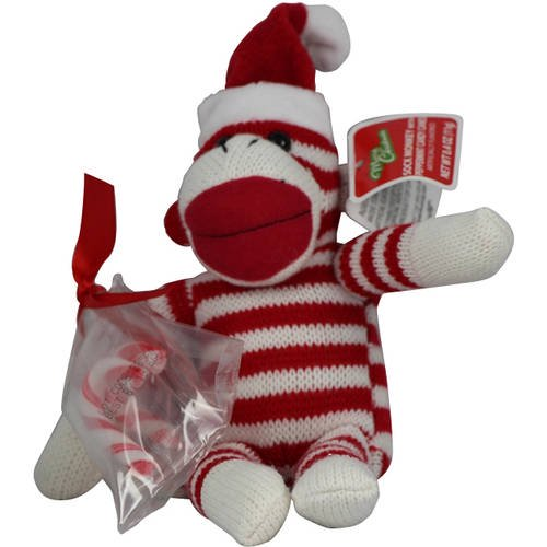 Galerie Red Striped Sock Monkey with Santa Hat and Candy Canes, 0 4 Oz