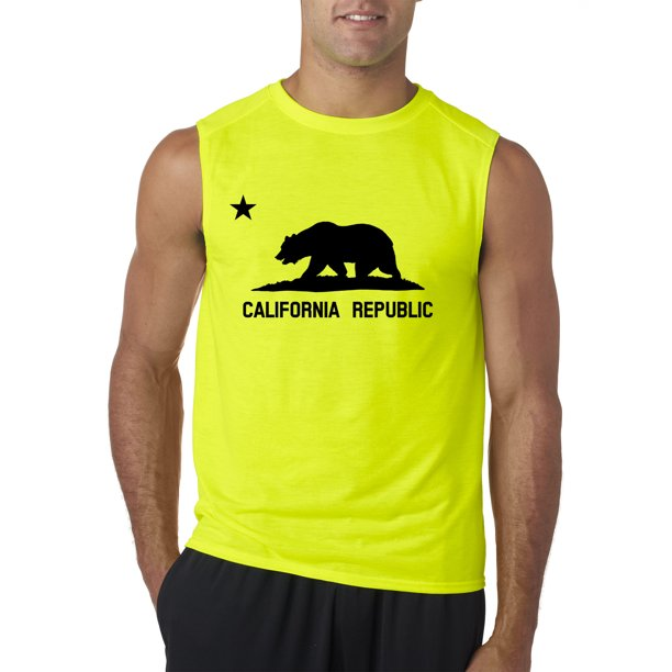 Trendy USA 975 - Men's Sleeveless California Republic Vintage Grizzly Bear Star Medium Safety Green