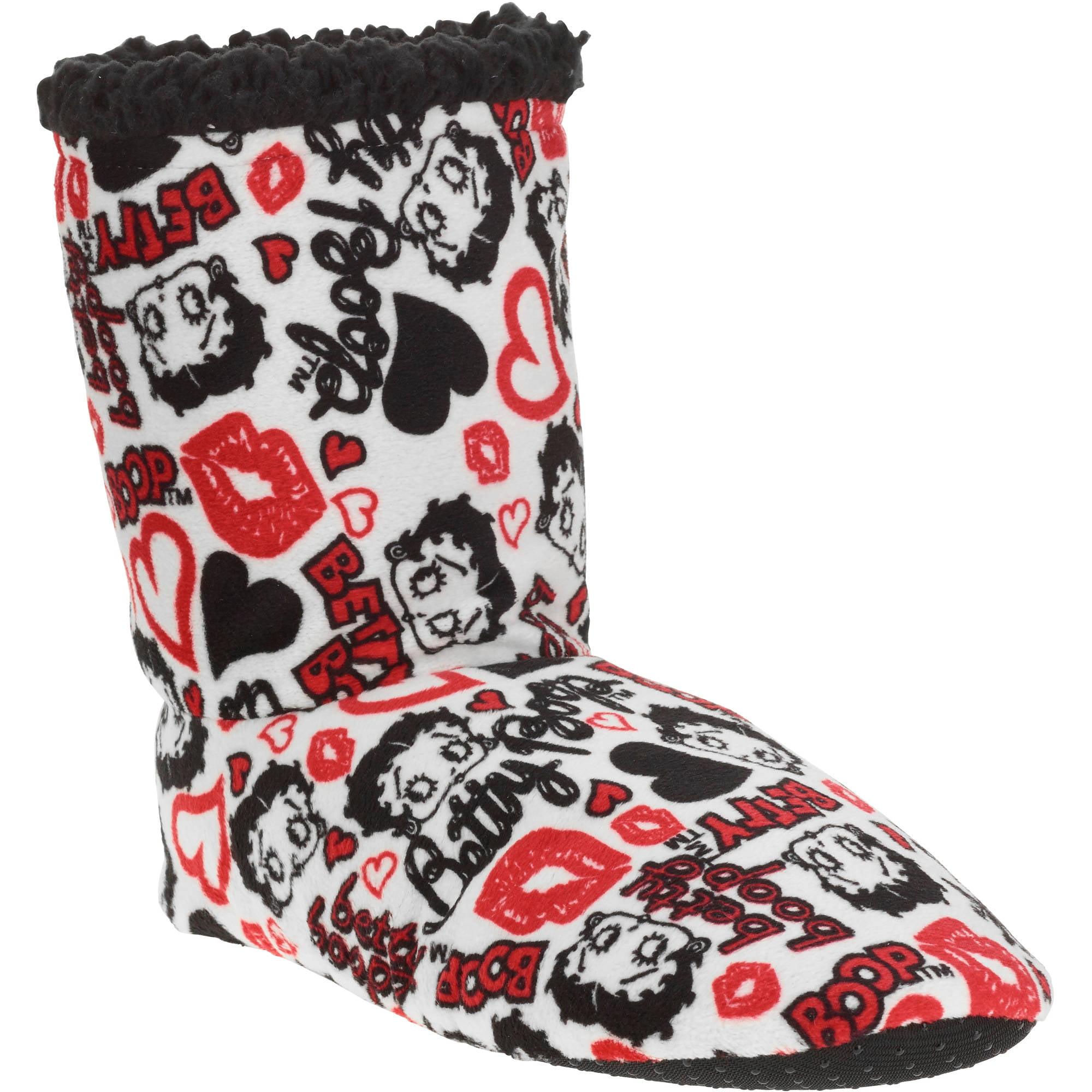 Silky Suede Fuzzy Babba Betty Boop Printed Bootie Slipper Socks