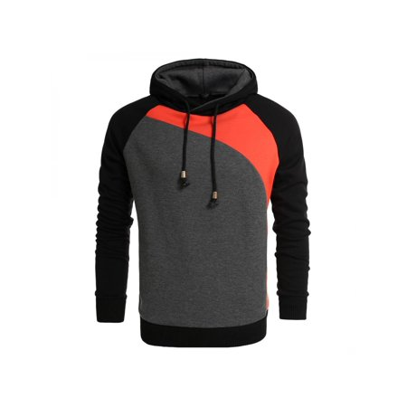 c9dcdf9b Hifashion Men Novelty Color Block Hoodies Cozy Sport Outwear HFON -  Walmart.com