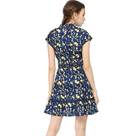 Women's Floral Cap Sleeve Smock Waist Skater Dress Blue L (US 14) - image 5 of 6