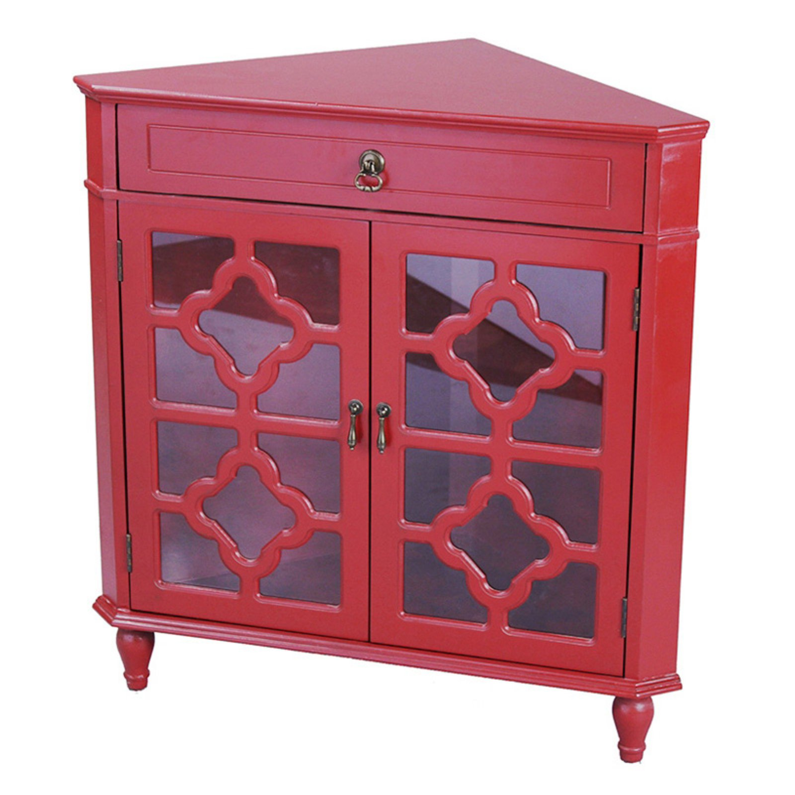 Heather Ann Creations Frasera Quatrefoil Glass Corner Cabinet