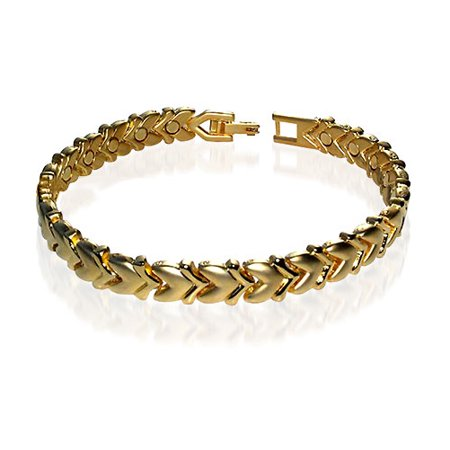 Gem Avenue Magnetic Link Yellow Gold 0 25 Inch Heart 6Mm Therapy Bracelet 7 5 Inch With Fold Over Clasps