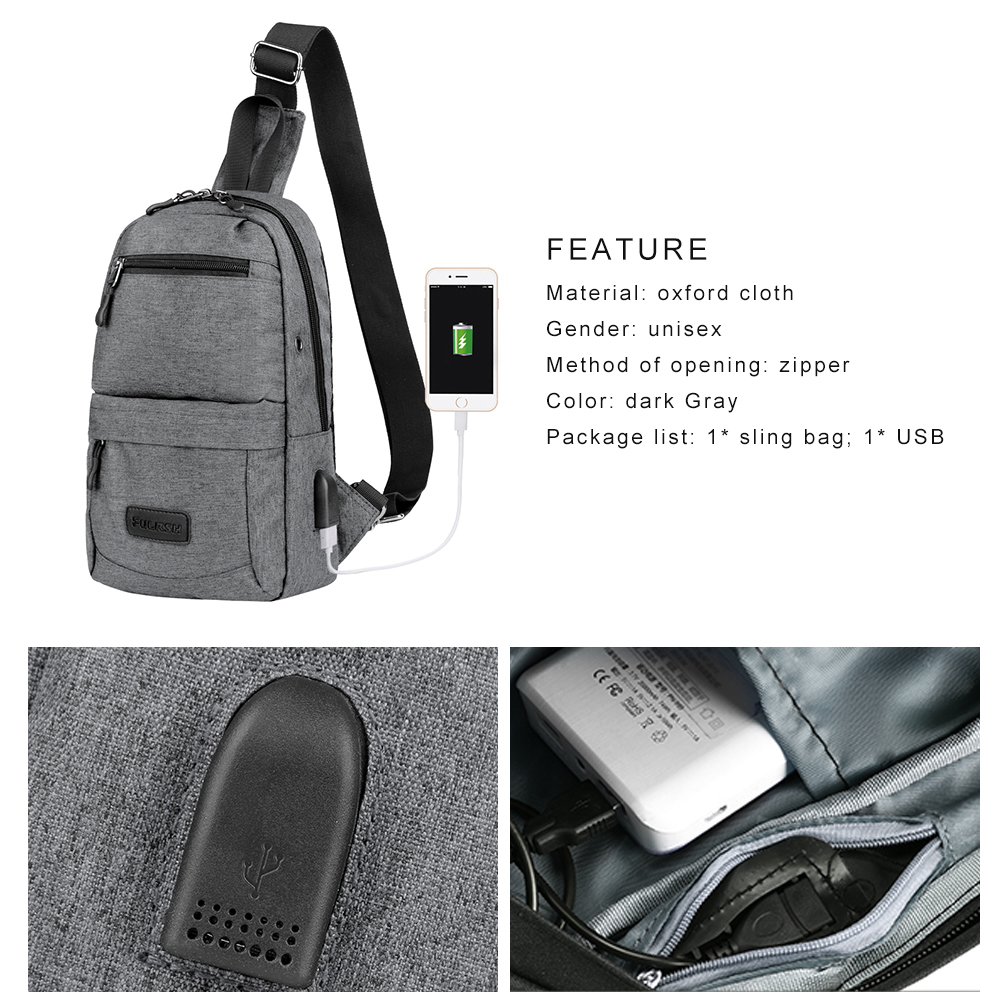 f87b9f5ec48c VBIGER - Canvas Sling Backpack for Men USB Rechargeable Chest Pack Casual  Shoulder Bags Outdoor Cross Body Satchel Bag - Walmart.com
