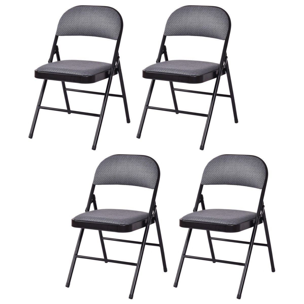 Costway Set of 4 Folding Chairs Fabric Upholstered Padded Seat Metal Frame Home Office