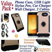 Value Pack + for Samsung Galaxy J7 2017 SKY PRO / J7 PERX J7 V Case Phone Case Magnet Mount Ready Kick Stand Hybrid Shield Slim Bumper Shock Cover Rose