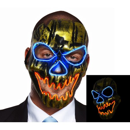 LED Skull Mask Light Up Halloween Cosplay Rave Costume Party Show by Cece - Bruce Lee Halloween Mask
