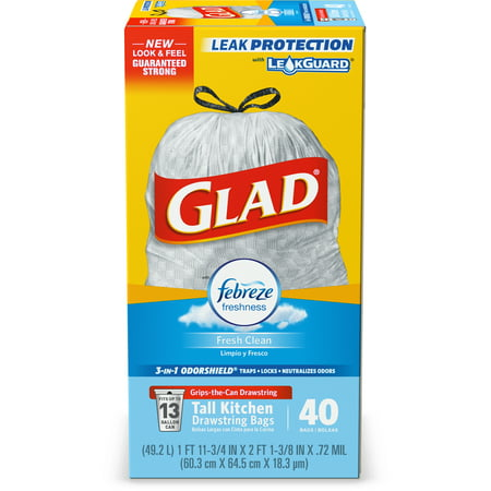 Glad Tall Kitchen Drawstring Trash Bags - OdorShield 13 gal Grey