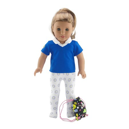 Emily Rose 18 Inch Doll Clothes | Daisy Girl Scout 3 Piece Accessory Pack, Including Tights with Daisy Flowers, Activity Shirt and Girl Power Backpack! | Fits American Girl Dolls