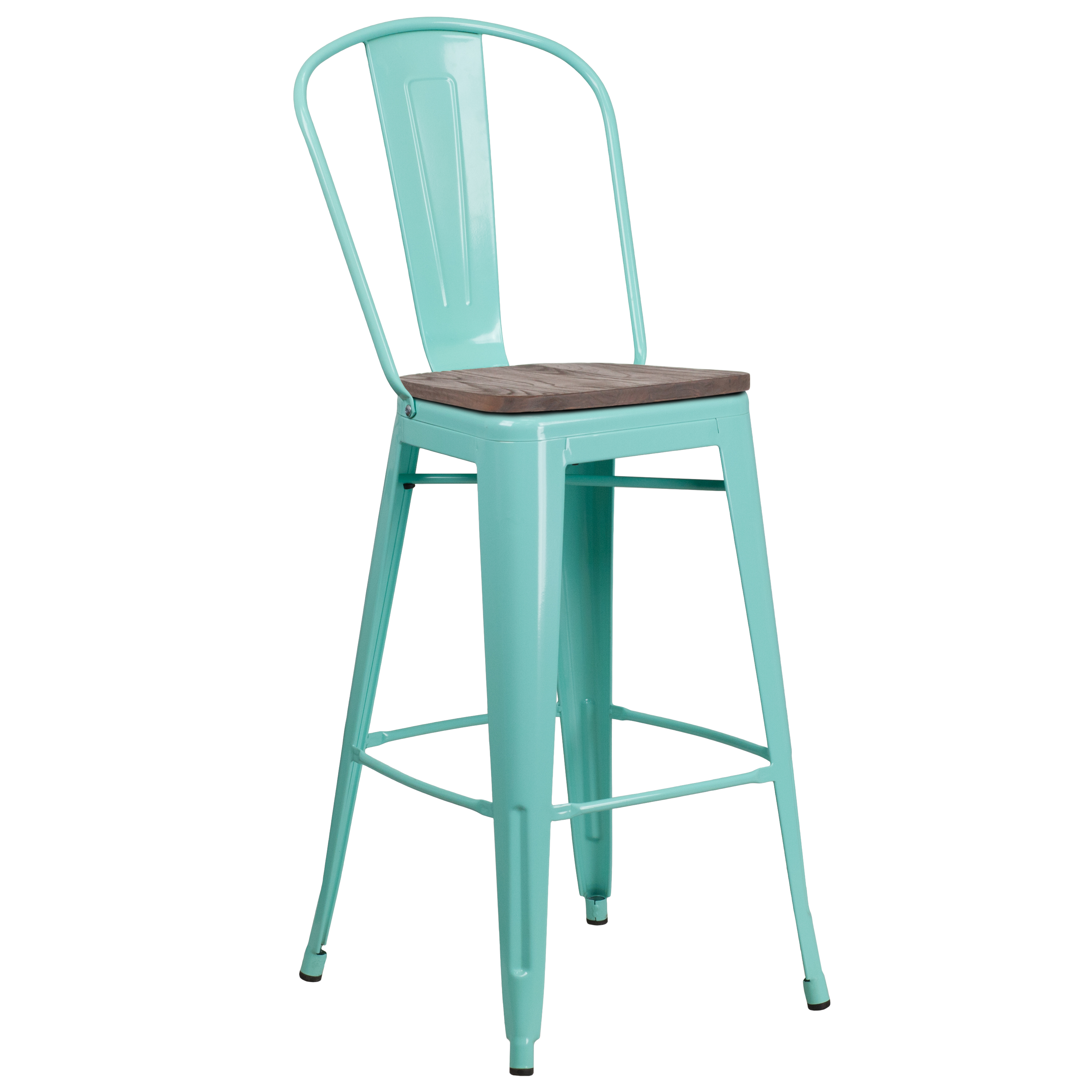 Flash Furniture 30 High Mint Green Metal Barstool With Back And Wood Seat