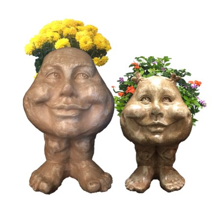 Image of Homestyles Stone Wash Daisy & Sister Suzy Q the Muggly Face Humorous Statue Planter Pot