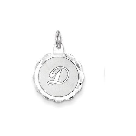 Sterling Silver, Sarah Collection 15mm Brocaded Disc Initial D Pendant