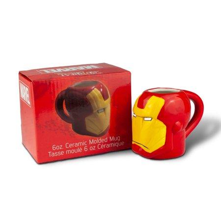 Marvel Collectible | Marvel Iron Man Armored Head 3D Ceramic Mug | 6 Ounces - Iron Man Chest Plate