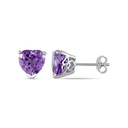 3-1/3 Carat T.G.W. Amethyst Sterling Silver Heart Stud (Amethyst Heart Earrings)