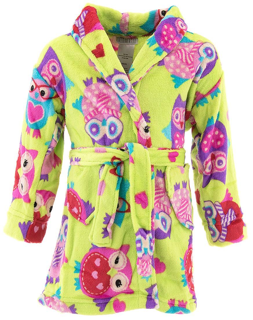Komar Kids Girls Green Owl Velvet Fleece Bathrobe