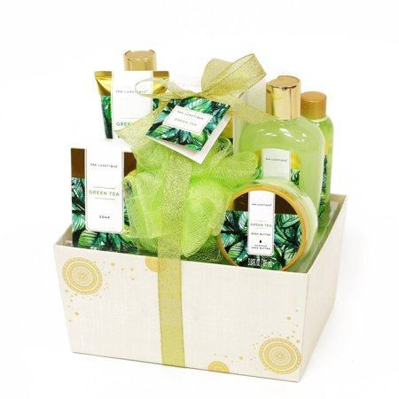 Spa Luxetique Spa Gift Basket with Renewing Green Tea Essential Oils, Deluxe 10pc Gift Baskets for Women, Decorative Box with Ribbon, Bath Gift Set Includes Soap, Body Lotion, Bubble Bath