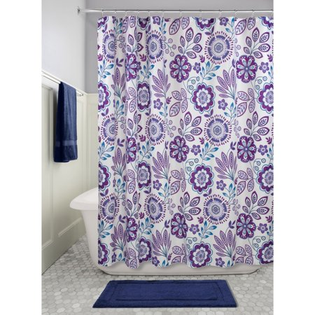 InterDesign Luna Floral Fabric Shower Curtain, 72\