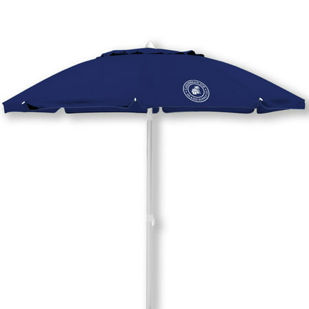 6.5' tilting beach umbrella, double canopy windproof design with UV protection, with color matching carry case