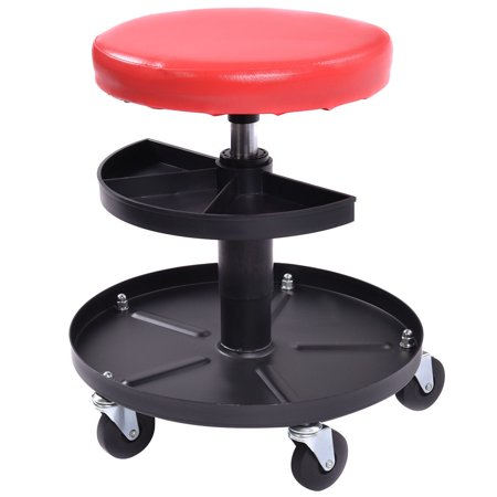 Costway Adjustable Mechanics Rolling Creeper Seat Stool Tray Padded Repair Shop