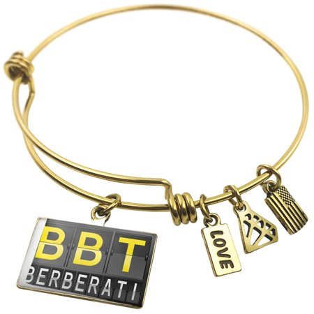 Expandable Wire Bangle Bracelet Bbt Airport Code For Berberati   Neonblond