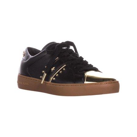 Womens MICHAEL Michael Kors Frankie Stripe Sneakers, Black/Pale Gold (Michael Kors Frankie)