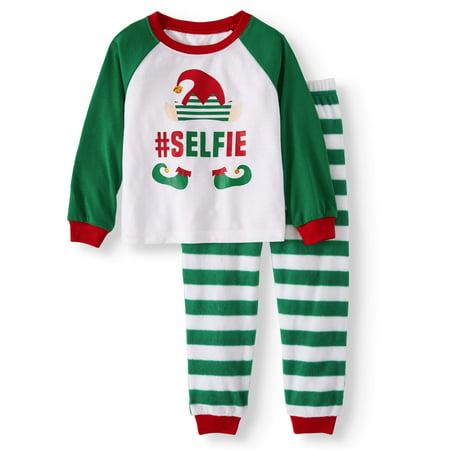 Family Pjs Holiday Elf Selfie Pajamas, 2-piece Set (Toddler Boys or Toddler Girls - Elf Girl Pics