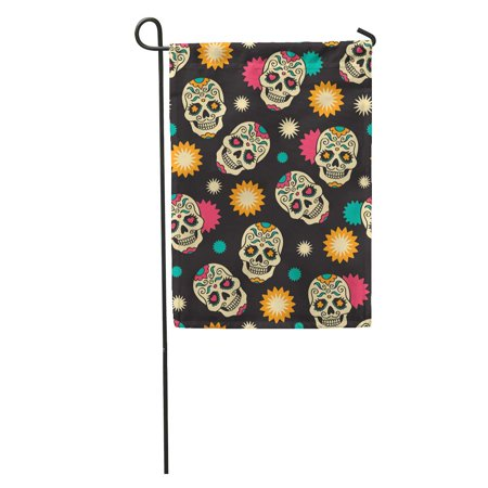 LADDKE Yellow Dead Sugar Skulls Mexican Halloween Pattern Music Heart Fiesta Garden Flag Decorative Flag House Banner 12x18 - Fiesta Halloween Comida