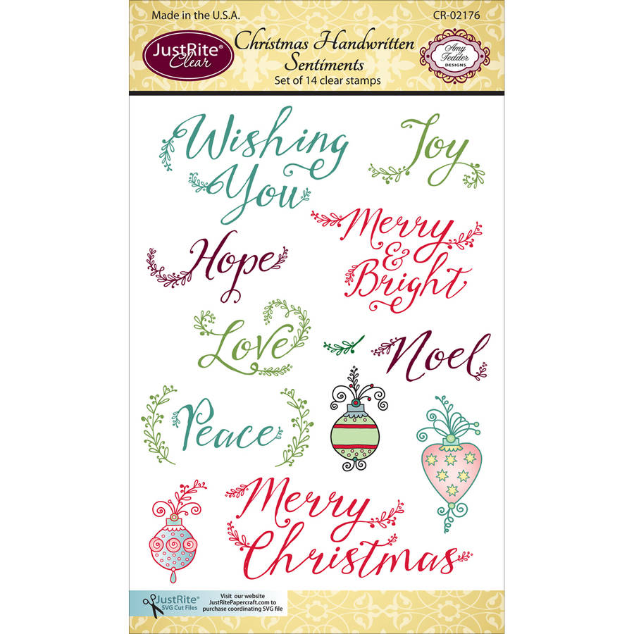 "JustRite Papercraft Clear Stamp Set, 4"" x 6"", Christmas Handwritten Sentiments"