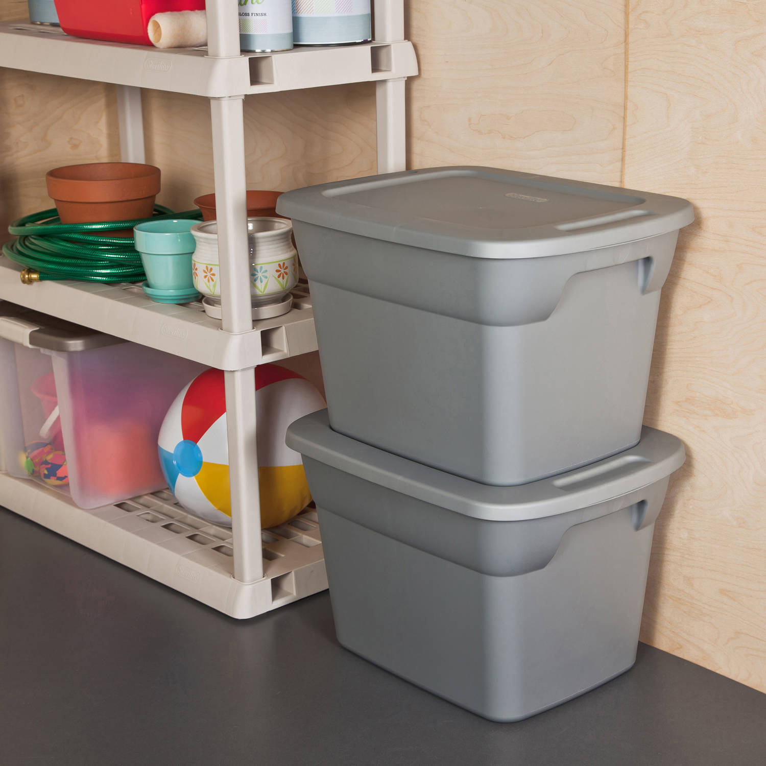 Sterilite 18 Gallon Tote Box- Steel (Available in Case of 8 or Single Unit)