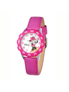 Minnie Girls'Stainless Steel Watch, Pink Bezel, Pink Leather Strap
