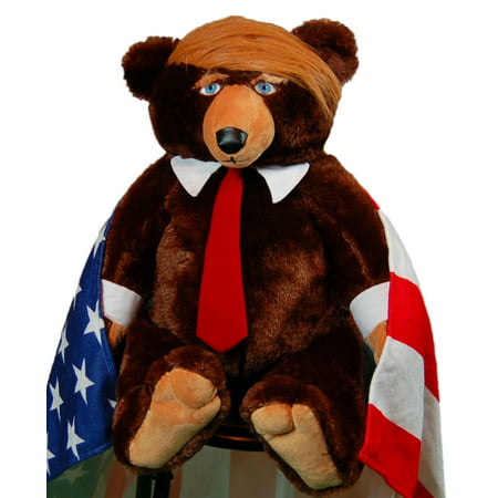 Trumpy Bear super plush bear with Flag-Themed blanket and Certificate of Authenticity. As Seen On (Fao Schwarz Bear)