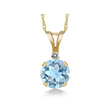 Blue Agate Round Pendant - 0.77 Ct Round Sky Blue Aquamarine White Diamond 14K Yellow Gold Pendant