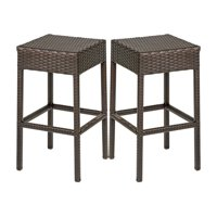 TK Classics Barbados Backless Wicker Patio Bar Stool