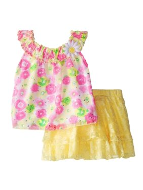 Little Lass Toddler Girls Floral Top & Yellow Skort Scooter Outfit 2 PC Set