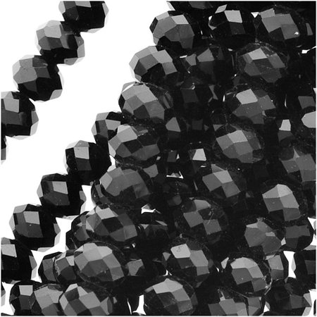 Jet Black Glass Faceted Rondelle Beads 4x5.5mm (17 Inch Strand)